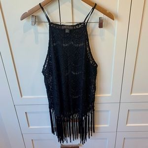 Forever 21 Plus Crochet Lace Halter with Fringe